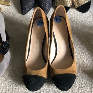 Franco sarto black and brown suede heels